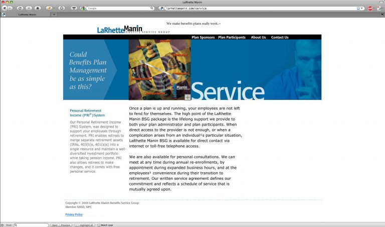 Detail - services landing page on website