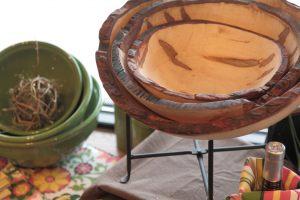 Hand scored wood bowls