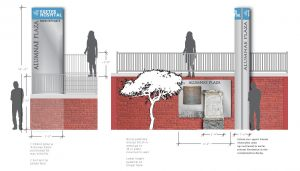Signage concept for memorial plaza