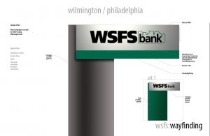 Signage system for a Delaware bank